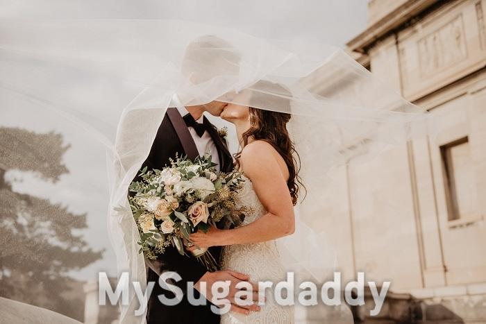 Einen Sugardaddy heiraten - Braut und Bräutigam